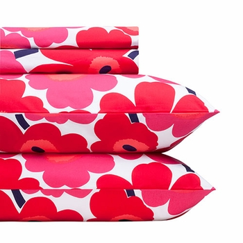 Marimekko Red Pieni Unikko Sheet Set - Click to enlarge