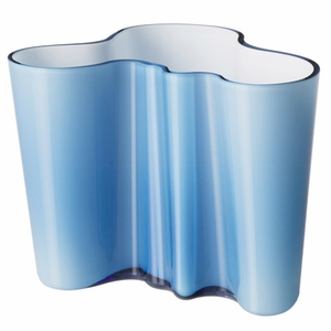 "Aalto Turquoise/White Dual Colored Vase - 6-1/4"" - Click to enlarge"