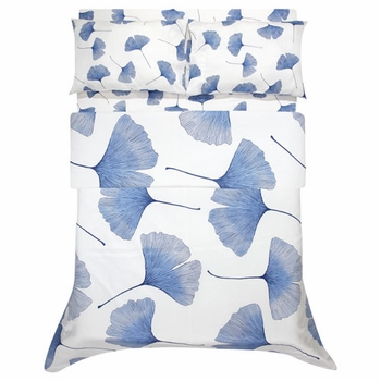Marimekko Ginkgo White / Blue Duvet Cover - Click to enlarge