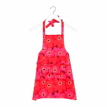 Marimekko Kid's Red/Red Mini-Unikko Apron - Click to enlarge