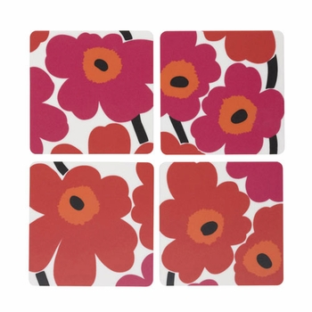 Marimekko Unikko Red Plywood Coaster Set of 4 - Click to enlarge