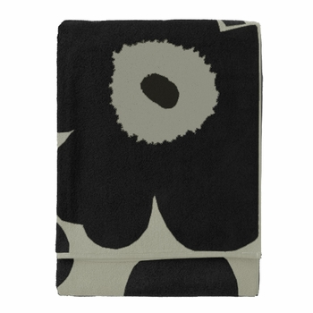 Marimekko Unikko Black/Sand Beach Towel - Click to enlarge
