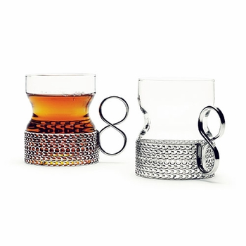 iittala Tsaikka Glass with Stainless Holder - Set of 2 - Click to enlarge