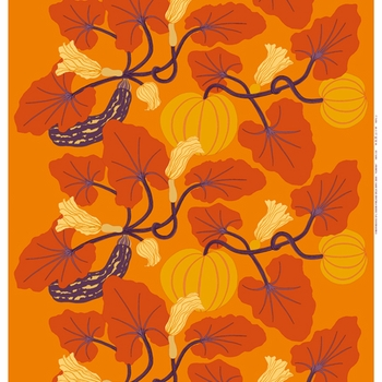 Marimekko Orange/Yellow Kumina Fabric - Click to enlarge