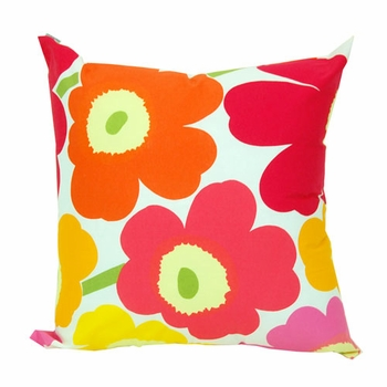 Marimekko Yellow/Orange/Pink Pieni Unikko Throw Pillow - Click to enlarge