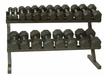 VTX 8 Sided Rubber Encased Dumbbells 5-50lb Set W/ Rack
