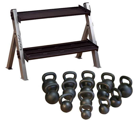 Body Solid 5-50lb Kettlebell Set W/Rack