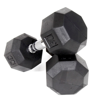 VTX 8 Sided Rubber Encased Dumbbells 55 - 75lb Set
