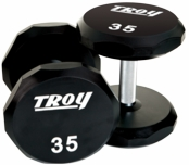 Troy Urethane 12 Sided Dumbbells 105-125lb Set