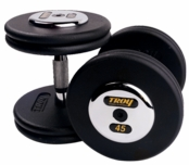 Troy Black Pro Style Dumbbells W/Chrome Caps 55-100lb Set