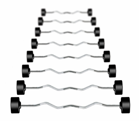 York Rubber Coated Barbells W/Curl Bar: 20lb-110lb Set