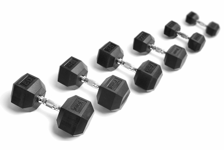 York Rubber Coated Hex Dumbbells 105-125lb Set