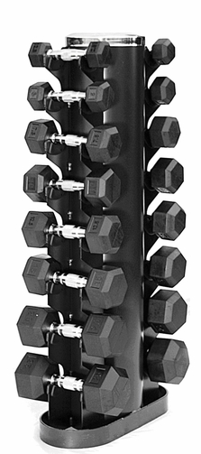 VTX 3-25lb Rubber Coated Dumbbell Set W/Rack