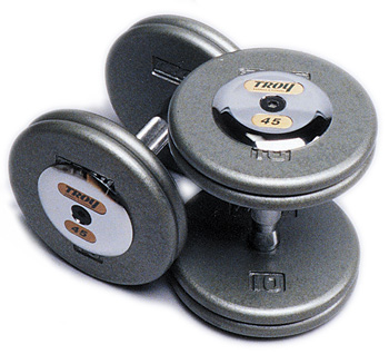 Troy Gray Pro Style Dumbbells W/Chrome Caps 55 - 75lb Set