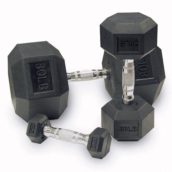 Body Solid Rubber Coated Hex Dumbbells 55-75lb Set