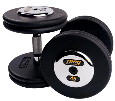 Troy Black  Pro Style Dumbbells W/Chrome Caps 105-120lb Set