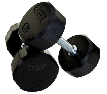 Troy Rubber Encased 12 Sided Dumbbells 105-125lb Set