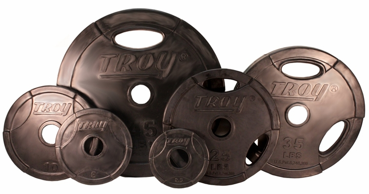 Troy Rubber Coated Olympic Weight Plates - 255lbs