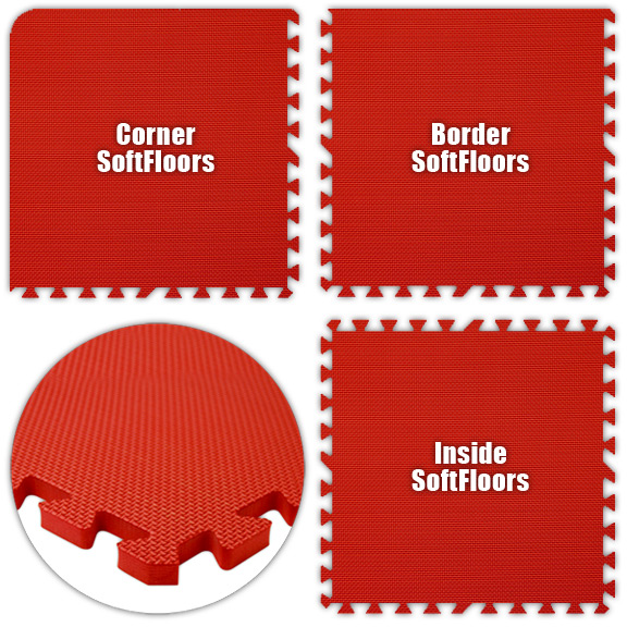 Premium SoftFloors Foam Rubber Interlocking Flooring 2' x 2' Tile