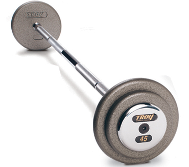 Troy Gray Pro Style Barbells - Chrome Cap  (120lb - 130lb Set)
