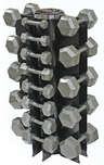 Hex Dumbbells 3-50lb Set W/Vertical Dumbbell Rack
