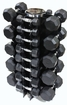 VTX 3-50lb Rubber Coated Dumbbell Set W/Rack