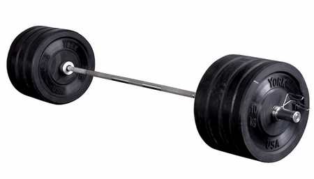 York 275lb Rubber Bumper Plate Set W/700lb Test Bar