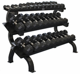 VTX 5-75lb Dumbbells W/ 3 Tier Shelf Dumbbell Rack