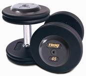 Troy Pro Style Dumbbell Sets Black W/Black End Caps