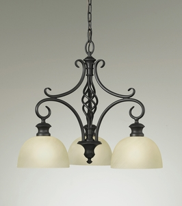 F2298/3BK Murray Feiss Alexandria 3 Light Chandelier in Black Finish