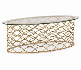 494577 Jonathan Charles Luxe Interlaced Gilt & Glass Oval Coffee Table