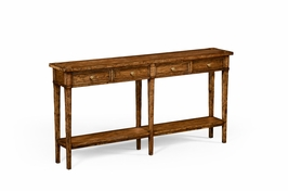 494673 Jonathan Charles Huntingdon Country Living Style Walnut Four Drawer Console Table