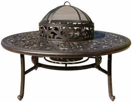 "DL80-Q-B Darlee 52"" Round Tea Patio Height Table with Ice Bucket and BBQ Wood Fire Pit"