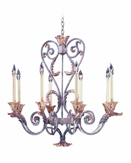 C69004 Corbett Lighting Crescent Court Eight-Light Oval Chandelier in Palace Bronze Finish