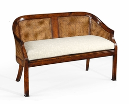 492247 Jonathan Charles Country Farmhouse Two Seater Salon Settee Cane Back Upholstered Seat