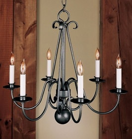 14-3160 Hubbardton Forge Six-Arm Wrought Iron Chandelier
