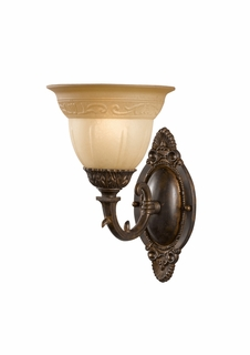 6301-A-VB Crystorama Oxford Amber Glass Wall Sconce Combined with Solid Brass Ornamentation