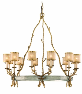 66-012 Corbett Lighting Parc Royale 12 Light Chandelier in Gold And Silver Leaf