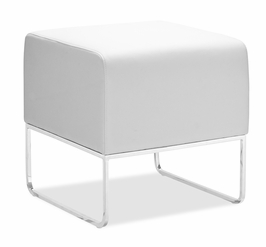 103004 Zuo Modern Plush Ottoman in White Finish