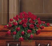Blooming Red Roses Casket Spray