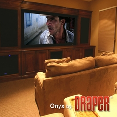 "Draper Onyx Permanent Wall Projection Screen, Size 49"" x 87"", 100"", HDTV, ClearSound Grey Weave XH600E - 253795"