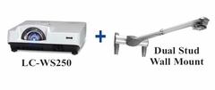 Eiki LC-WS250 LCD Projector w/Dual Stud Wall Mount Package