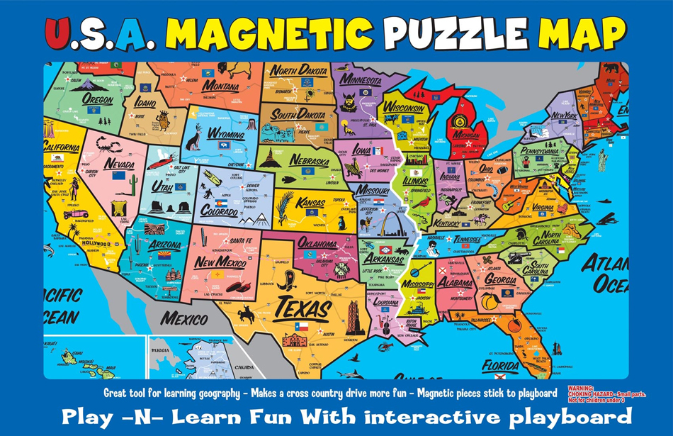 magnetic united states map Us Map Magnetic Puzzle