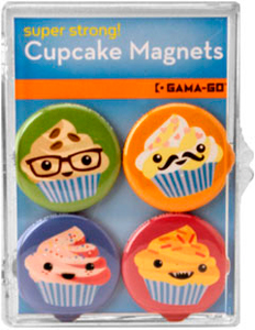 Cupcakes Gama-Go 4-Piece Badge Bomb Magnet Set