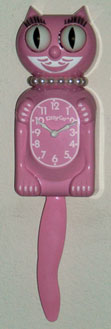 Pink Miss Kitty Cat Clock - 3/4 Size