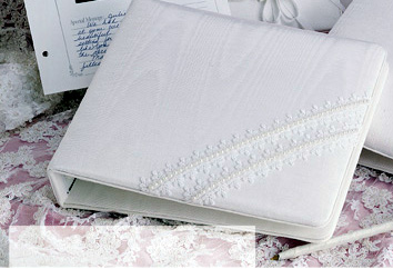 Moire Picture Guest Book with Lace