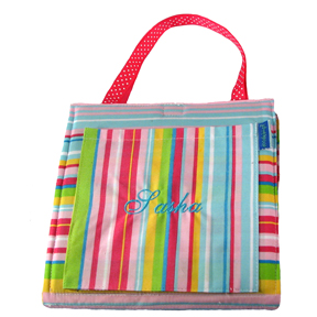 Doodlebag Personalized Toddler Art Activity Backpack - Pink Striped