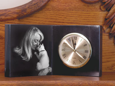 Personalized Marble Open Photo Book Clock