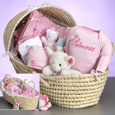 Baby Deluxe Moses Princess Gift Basket <br>for Girl