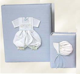 Boy Embroidered Batiste Personalized Baby Photo Album - Large